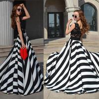 Wholesale Offers Dress - Vestido Longo Special Offer Vestido Elegant 2015 Lady Evening Lace Stripe Long Maxi Sleeveless Dress Party Sweep Train Beach Floor-lenghth