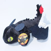 "Wholesale Dragon Toothless Plush - 9"" 22cm How to Train Your Dragon 2 Toothless Night Fury Plush Toys Soft Stuffed Dolls Super Christmas Gifts"