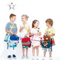 Wholesale Kids School Cloths - 4 Styles Waterproof Cloth Unicorn Backpack Cartoon Colorful Unicorn Whale Shoulder Bag Kids Rainbow Unicorn Elk School Bag CCA8172 3pcs