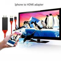 usb hdmi conversor full hd al por mayor-Cable HDMI Full HD 1080P Lightning USB a HDMI Adaptador Convertidor Teléfono Digital Cable para Apple x 8 / 8plus 7 6 5 4 al por mayor 2pcs / lot