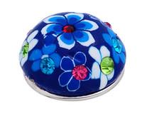 mavi arka planlar toptan satış-# 27 koyu mavi arka plan mavi beyaz çiçek deseni ve matkap kil hakkında 5.5mm DIY yuvarlak düğmeler 18mm snap düğmesi noosa düğme diy