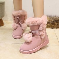 Wholesale Cute Ankle Boot Heels - Cute Warm Pompon Winter Shoes Hot Sale Women Snow Boots Solid Color Slip-On Soft Cute Women Boots Round Toe Flat with Winter Shoes