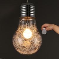 alüminyum askılı ışık fikstürü toptan satış-Şık Büyük Ampul Modle Sarkıt Ücretsiz Nakliye Yeni Modern Yemek Odası içinde Alüminyum Tel Cam topu Abajur Kolye Işık Fikstürü