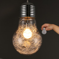 colgante de alambre moderno al por mayor-Lámpara grande y elegante Lámpara Modle Colgante Envío Gratis Nuevo Moderno Comedor Alambre de Aluminio dentro de la bola de Cristal Pantalla Colgante accesorio de Luz