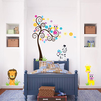 Barato Mural De Vinil Zebra-Owl Tree zebra lion animal Estilo europeu Adesivos de parede Western Kid Room Decalques de decoração Vinyl Mural Wall Sticker decoração de decoração palmeira