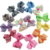 Wholesale Babies Hair Accesories - Free Shipping! 200pcs lot Chevron Bows WITHOUT CLIPS Baby Girl Handmade Boutique Chevron Bows Hair Accesories
