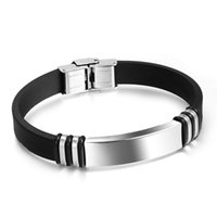 Wholesale Jewelry Id Bracelet Silver - New Design XMAS Gift For Men&Boys Jewelry Black And Silver Genuine Silicone Stainless Steel 11mm ID Bracelet Hand Ring