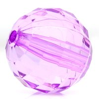 Wholesale 22mm Purple Beads - 2015 New 10PCs Acrylic Spacer Beads Faceted Round Ball Transparent Purple 22mm Dia. Free Shipping