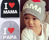 Wholesale Baby I Love Mama - Newborn baby cotton cap infant lovely rabbit sleeping hat I love papa mama bay hat kids cap
