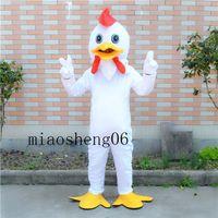 trajes personalizados pollo al por mayor-2017 traje de la mascota del pollo blanco y encantadora fábrica de trajes de dibujos animados personalizados artículos personalizados de Navidad de Halloween