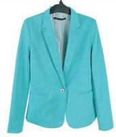 Wholesale Green Color Lady Suit - Wholesale-2016 New Fashion Brand Blazer Women Suit Solid Color High Street Jackets Coat Office Lady Business Cool Blazers Plus NSY17