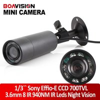 "Wholesale Effio Mini Bullet - 1 3"" Sony Effio-e 700TVL CCD Mini Bullet Outdoor Invisible 8 IR 940NM 0 lux Night Vision CCTV Camera"