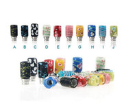 Wholesale Drip Tips Jade - Great quality 510 Drip Tip E Cigarettes Carving Art Glass Drip Tip Jade stone Drip Tip with Stainless Steel Wide Bore Atomizer Mouthpieces