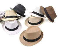 Wholesale Curl Fashion Style - Sun Straw Hat Fedora Unisex Jazz Cap Edge Curl New Style Beach Cap For Travel Shopping Sports Outdoor