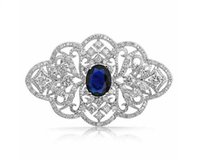 blue brooches - 2 Inch Vintage Look Clear Rhinestone Crystal Diamante Wedding Jewelry Brooch With Dark Blue Stone