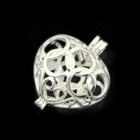 Wholesale Glass Locket For Charms - Wholesale 15*19mm Silver Filigree Heart Brass Charm Cage Pendant Lockets Pearl Cage Sea Glass For DIY Lockets Pendant