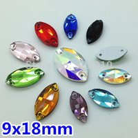 Wholesale 18x9mm Sew Navette - Wholesale-More Colors 180pcs box 18x9mm Navette Crystal Sew-on Stone 2 Holes 9x18mm Marquise Horse eye Sewing Glass Crystal