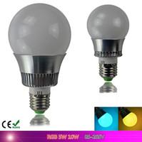 Wholesale Remote Control Bulb 16 Color - New arrival LED RGB globe Bulb E27 5W 10W Remote Control Color Changing LED Wall Light Bulb RGB 16 Color Lamp 85-265V