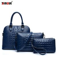 Wholesale handbag crocodile skin - Wholesale-2015 women's handbags made of genuine crocodile skin bag Crossbody bag fashion postman shoulder bag Bolsas women messenger