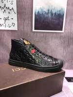 Wholesale Wedges New Arrival - HOT winter new arrival fashion luxury brand men shoes black genuine leather high-top high quality men casual shoes sneakers original box