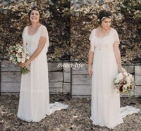 Wholesale Empire Chiffon Plus Size - 2015 Ivory Bohemian Wedding Dresses Plus Size Maternity Lace Short Sleeves Cheap Scoop Open Back Country Spring Wedding Bridal Wedding Gowns