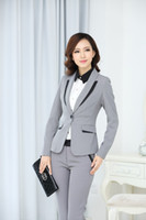 Wholesale Women Two Piece Formal Set - women pant suits formal office work wear sets ladies' suit (jacket and pants) Two-piece blazer and trousers plus size