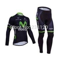 Wholesale Long Bib Movistar - Movistar cycling jersey summer HOT SALES cycling jersey long sleeve and cycling bib pant kits movistar team 2014 ropa ciclismo green