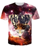 Wholesale Mens V Neck Graphic Tees - tshirts Newest space tiger tee shirt Crewneck print women men's galaxy t-shirt casual mens 3d graphic t-shirt plus size