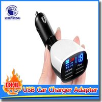 Wholesale Led Display Cell Phones - Dual Port 3.4A 2-Port USB Smart Identification Fireproof Beat Car Charger Adapter With Alarm LED Screen Display For Cell Phone