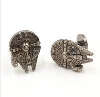 Wholesale Star Wars Cufflinks jewelry for Men New Millennium Falcon Palladium Star War Spacecraft Novelty Cufflinks Silver Plated Cuff Links buttons