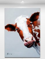 Wholesale Bull Canvas Painting - Colorful Bull - Hand-painted Oil Painting On Canvas Cartoon Animal Wall Art Modern Abstract Painting Home Decoration