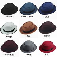 Wholesale Brim Hat Men - Unisex Classic Felt Pork Pie Porkpie Hat Cap Upturn Short Brim Black Ribbon Band
