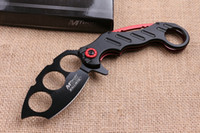 Wholesale cold steel knuckle duster knife - Cold steel Knuckle Duster pocket knife folding blade CR17Mov Blade Aluminum Handle hunting tactical camping knife knives with retail bo