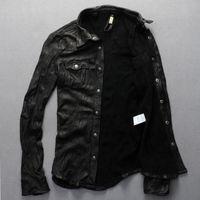 Wholesale Thin Leather Motorcycle Jacket - Fall-2015 New Men Motorcycle Leather Shirt Jacket Black Plus Size XXXL Genuine Sheepskin Men thin Coat Factory Direct FREE SHIPPING