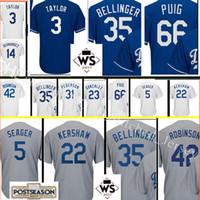 Wholesale Los Angeles Jerseys - Los Angeles #35 Cody Bellinger Jersey Men's 66 Yasiel Puig 31 Joc Pederson stitched Baseball Jerseys 2017 Postseason and SW Patch