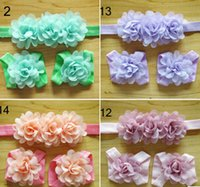 Wholesale Wholesale Baby Barefoot Headband Sets - Wholesale-NEW ARRIVAL IN STOCK BABY GIRL HEADBAND&BAREFOOT SANDALS SET 16SETS lot 16colors hair ornaments baby photo props
