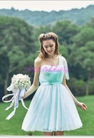 2016 Кабриотические платья Sexy New One Shoulder Halter Tulle Длина колена Beach Garden Party Prom Bridesmaid Dresses Maid Of Honor