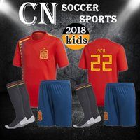 Wholesale Boys Shirts Sale - Spain kids Jersey 2018 RAMOS ISCO PIQUE SERGIO A. INIESTA M. ASENSIO THIAGO MORATA home soccer shirt Football uniforms sales Spain kits
