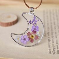 Wholesale Wholesale Epoxy Pendants - Handmade Glass Crescent Moon Pendant Romantic Purple Lavender Small Dried Flowers Epoxy Wax Cord Chains nxl029