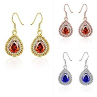 Wholesale Cheap Diamond Shaped Earrings - Cheap Chinese Earring 3.0X1.7CM Size Teardrop Shape Pendant Necklace With Red Crystal For Women