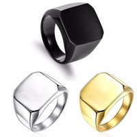 Wholesale 24k wedding ring sets resale online - Fashion Rings Square Big Width Signet Rings K Titanium Steel man Finger Silver Black Gold Men Ring Jewelry