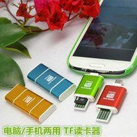 Wholesale Dual Sdhc - Wholesale-Aluminum Micro USB SD SDXC SDHC TF OTG Card Reader Adapter Samsung S3 S4 Android Mobile Phone & PC Tablets Dual Use
