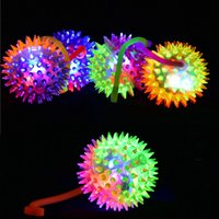 Wholesale Light Up Baby Toys - Light Up Spiky Baby Toys LED Flashing Bounce Exercise Finger Playing Fun Games Baby Finger Toys