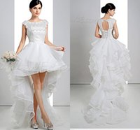 Wholesale Sexy Aline Wedding Dresses - Beaded Crystal aline 2016 Short High Low Wedding Dresses Bridal Gowns Fashon Organza Lace up Wedding Gowns