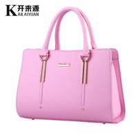 Wholesale Korean Fashion Yellow Satchel Bag - Fashion Bags Ladies Handbags Luxury PU Leather Designer-handbags for Women with Shoulder Purses Plain Korean OL Satchel Brand Totes 2015