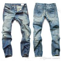 calça homem marca venda por atacado-Moda Calças de Brim Dos Homens Mens Calças Casuais Calças Elásticas Luz Azul Fit Denim Solto Algodão Marca Jeans Para O Sexo Masculino