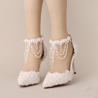 Wholesale bridal shoes color - New Summer White Pearl Crystal Lace Bridal Shoes Beautiful Ankle Strap Wedding Shoes White And Red Color Pointed Toe Prom Shoes