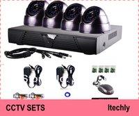 Wholesale H264 Surveillance - H264 cctv 4ch 480TVL cctv dvr kit camrera system with 4pcs 480tvl dome cctv camera video surveillance security camera system