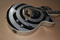 ingrosso chitarre zakk-Vendita calda Top Quality Custom Shop Zakk Wylde bullseye Silvery Black EMG Pickup Chitarra elettrica Spedizione gratuita