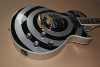 guitarra negra emg al por mayor-Venta caliente de calidad superior Custom Shop Zakk Wylde Bullseye plateado negro EMG Pickup guitarra eléctrica envío gratis